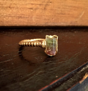 Bi-color Raw Tourmaline ring