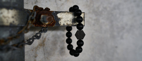 Image of a Black Obsidian Stone Beaded Chakra Bracelet