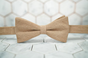A front image of the Arbuckle brown bow tie by Dear Martian, Brooklyn.