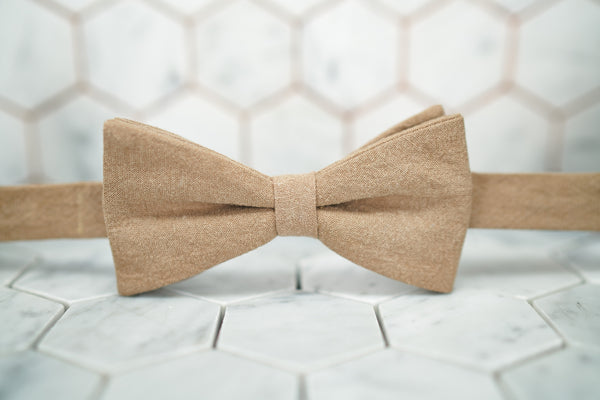 A front image of the Arbuckle brown bow tie from Dear Martian.