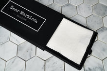 An image of our Al Pacino white linen pocketsquare inside our signature Dear Martian black box.