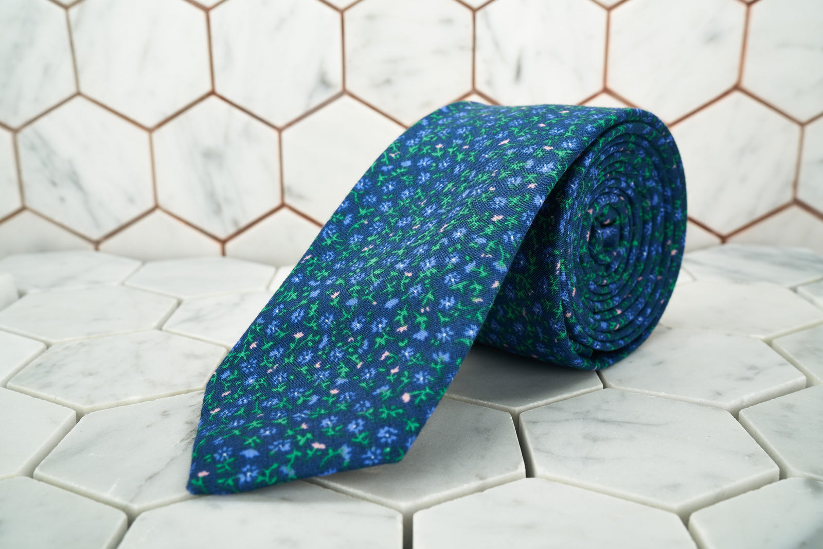 An image of the men's Ditsy lilac purple floral necktie exclusively at DearMartian.