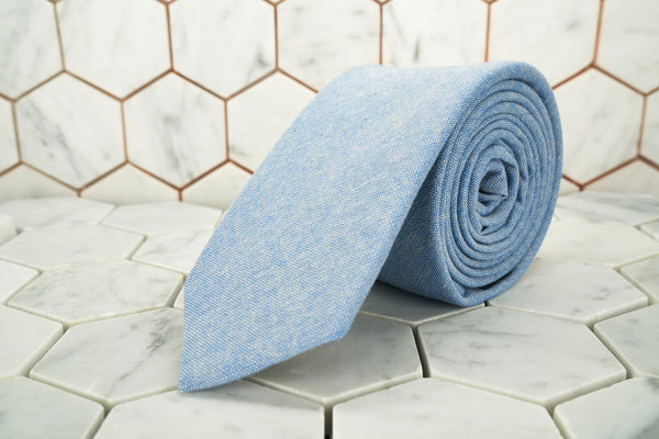 An product image of the Dear Martian Haskins Townsend, blue chambray skinny tie.