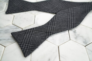 GRIMALDI / ─ CHARCOAL CHECKED LINEN BLENDED UNTIED  ─