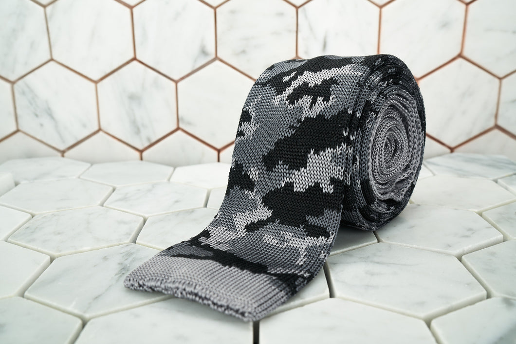 An image of the Dear Martian, Our Dear Martian grey camouflage silk knitted neck tie.