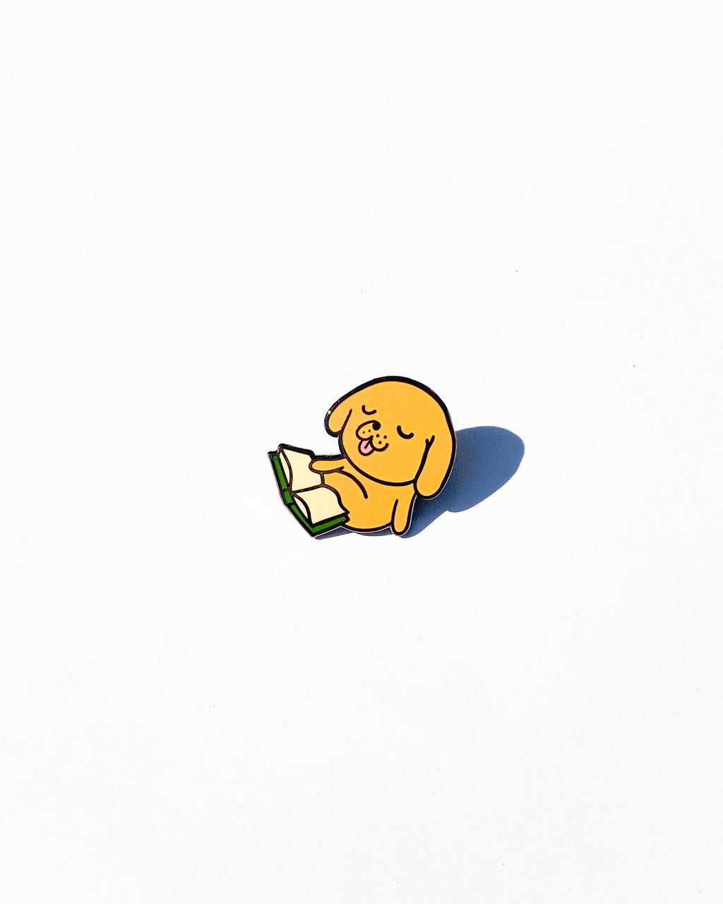 Reading Dog Enamel Pin
