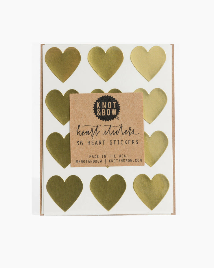 Gold Heart Stickers - Gold