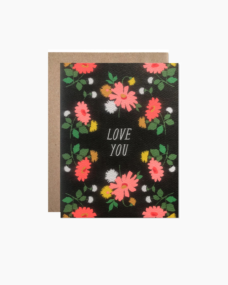 Love you Dark Floral with Neon Daises