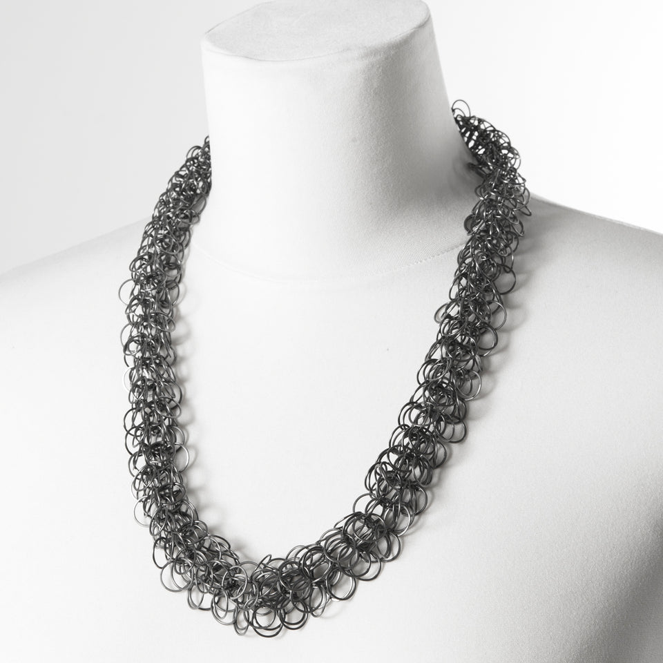 Ard multi-loop necklace, silver or oxidised silver