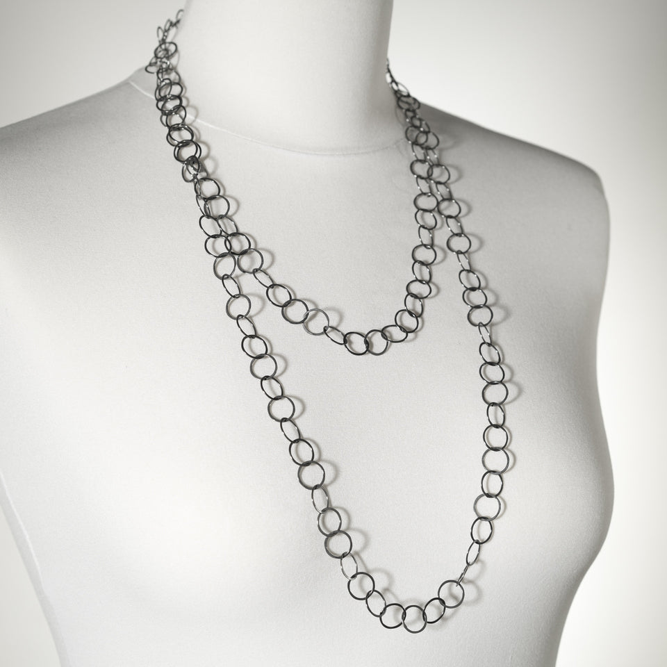 Moncrieff long layering necklace, silver or oxidised silver