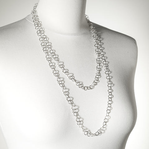 Wishart long layering necklace, silver or oxidised silver