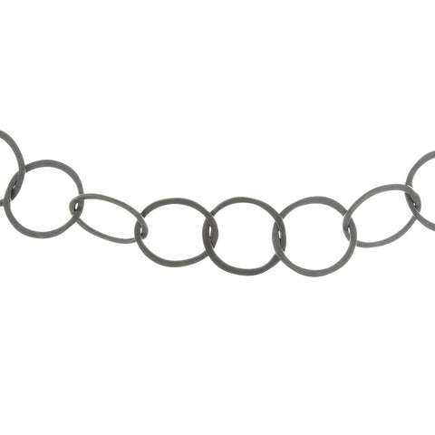 Moncrieff classic loop necklace, oxidised silver
