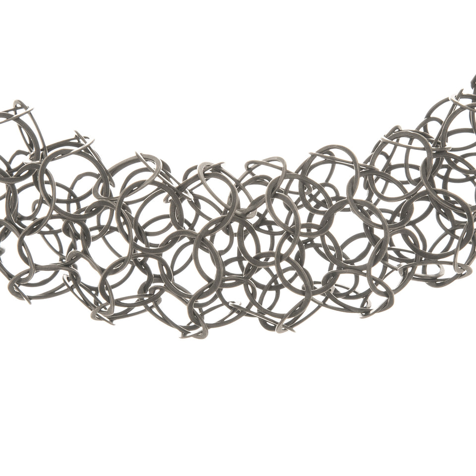 Ervine chain tube necklace, silver or oxidised silver