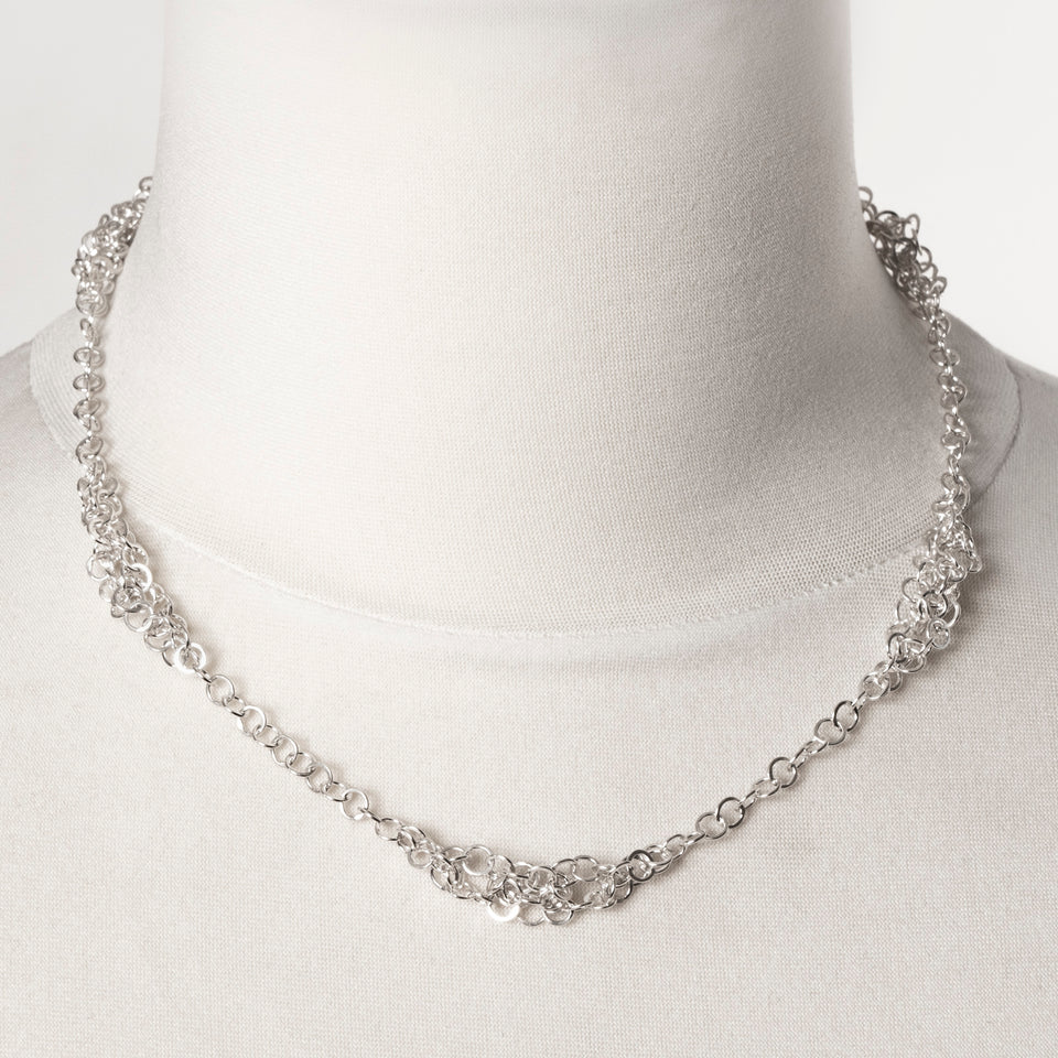 Darrow knotted chain necklace in silver or oxidised silver