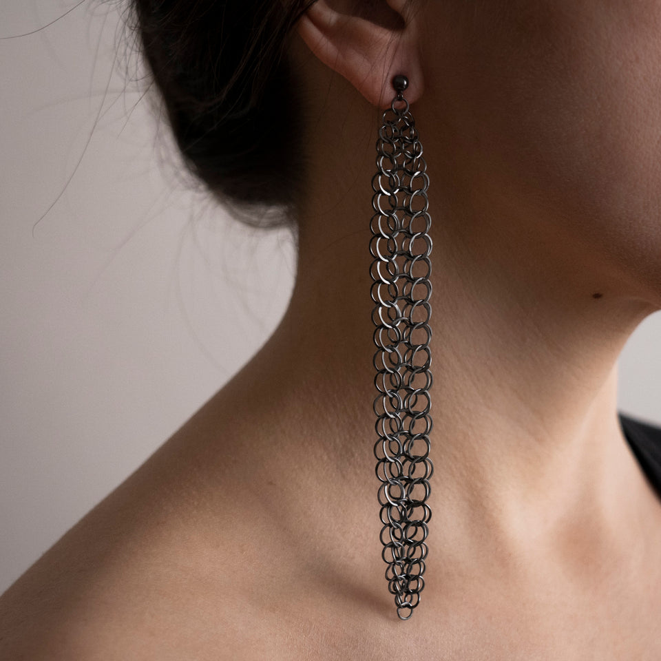 Holme long draping earrings, silver or oxidised silver