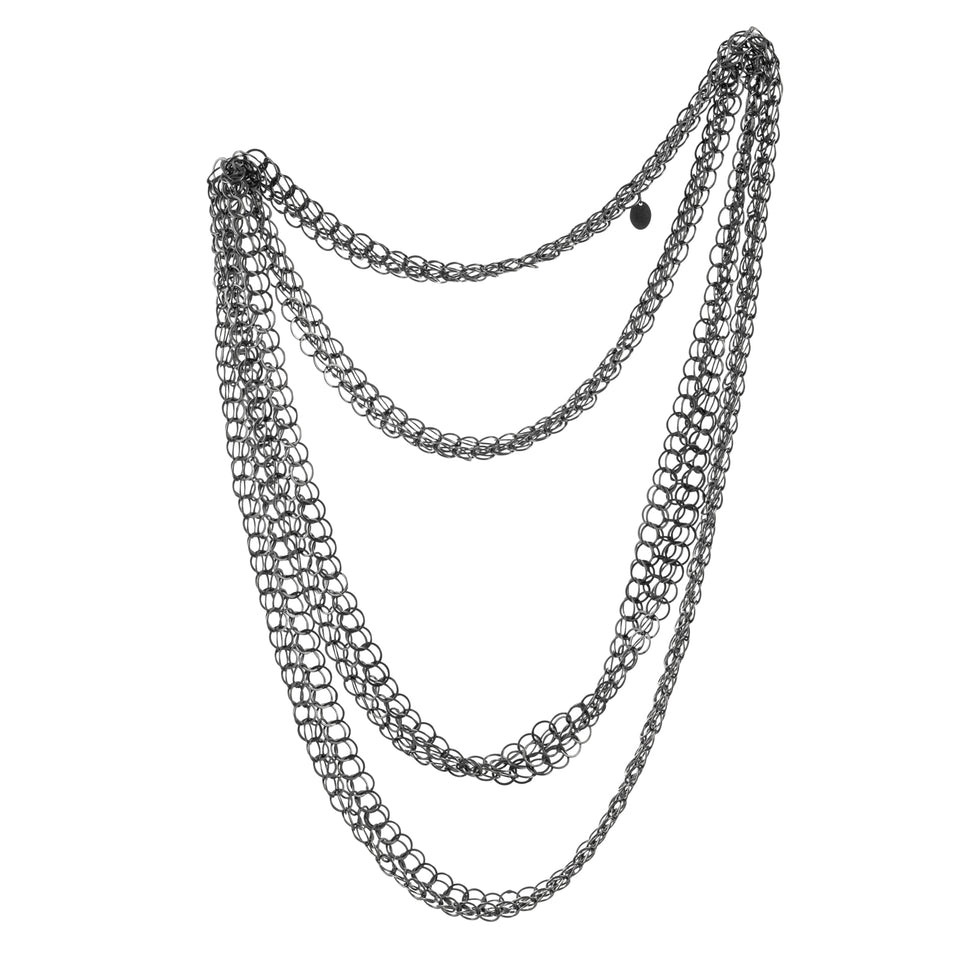 Holme long necklace, silver or oxidised silver