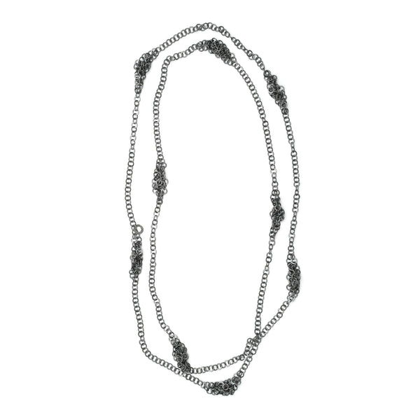 Long Darrow necklace, silver or oxidised silver