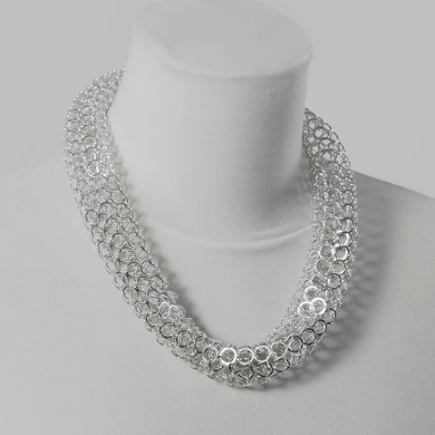 Wholesale Jarvie chain tube necklace, silver or oxidised silver