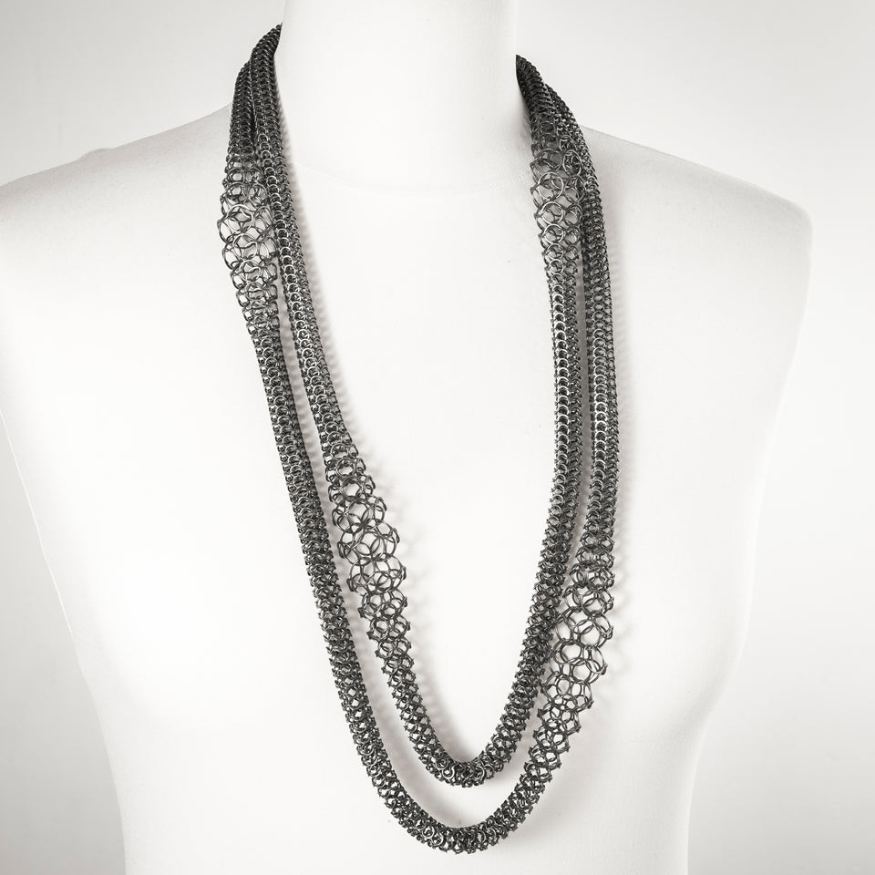 Lusk long layering chain silver or oxidised silver