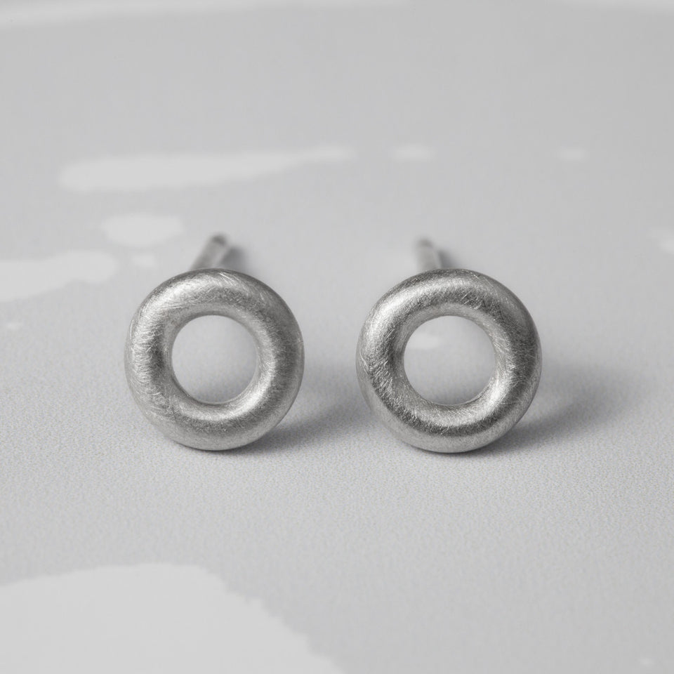 Arnot tiny studs, silver or oxidised silver