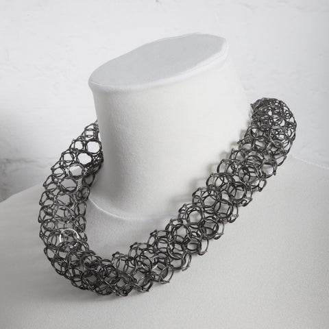 Ervine chain tube necklace, silver and 22ct gold