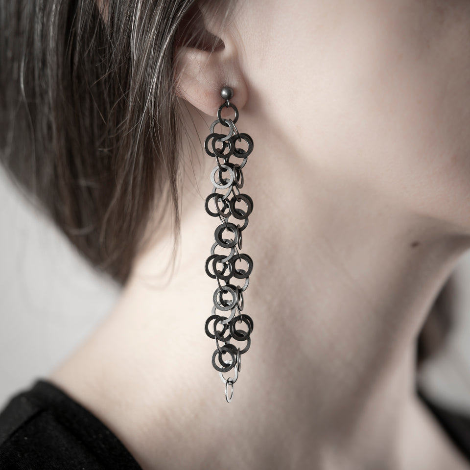 Redpath chain earrings, silver or oxidised silver, longer lengths