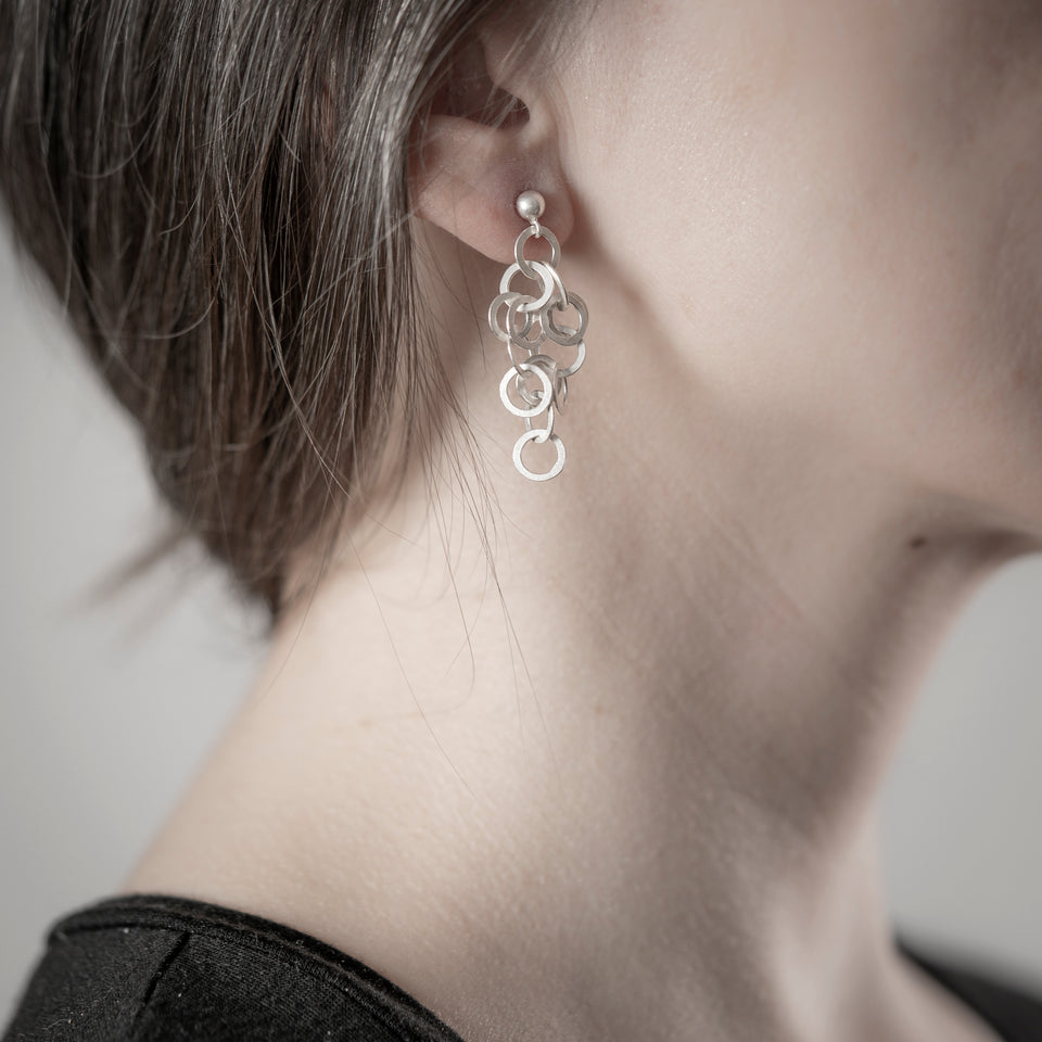 Redpath chain earrings, silver or oxidised silver, shorter lengths