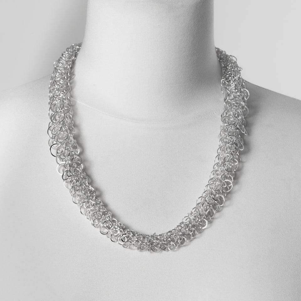 Thom multi loop graded necklace silver