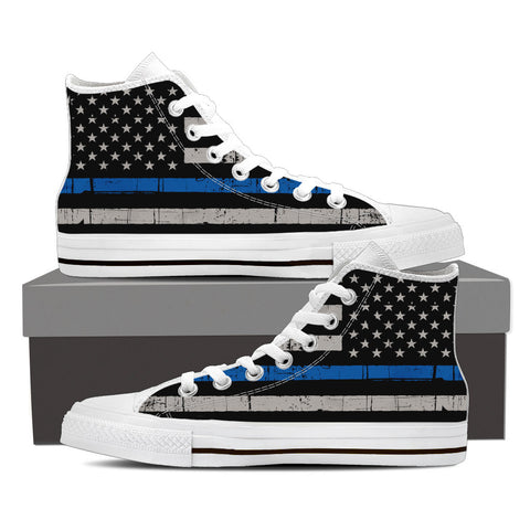 Thin Blue Line High Top Sneakers (Men's)
