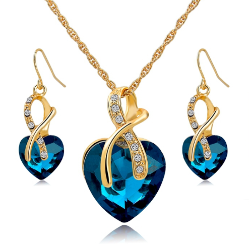 Heart Shaped Necklace and Earrings Set