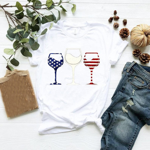 American Flag Wine Glass T-Shirt