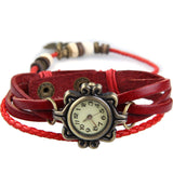 Vintage Leather Bracelet Butterfly Watch