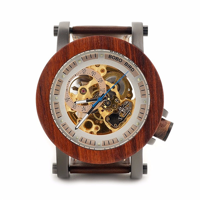 BOBO BIRD Red Sandalwood & Steel Mechanical Watch