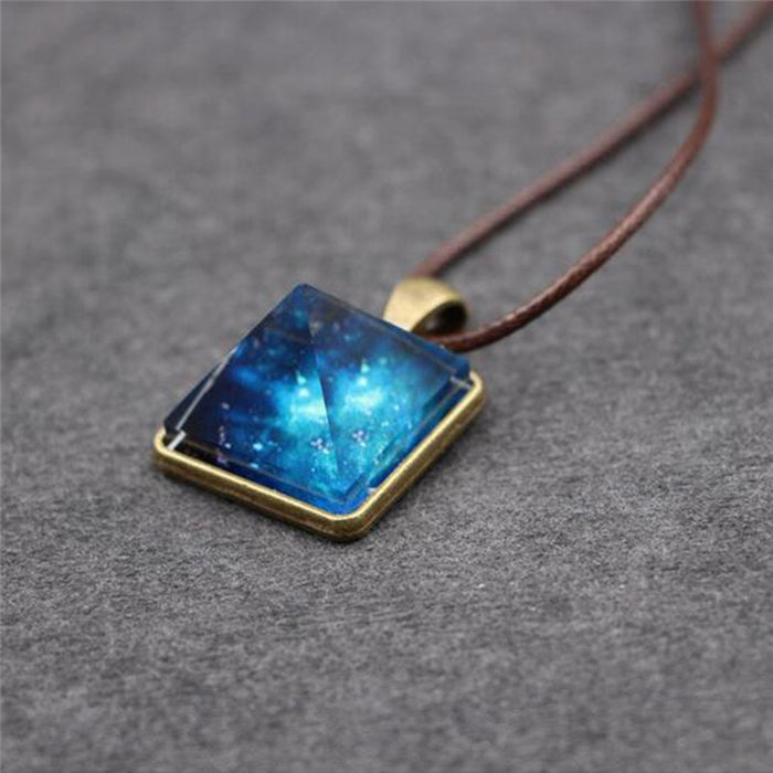Starry Sky Crystal Pyramid Necklace