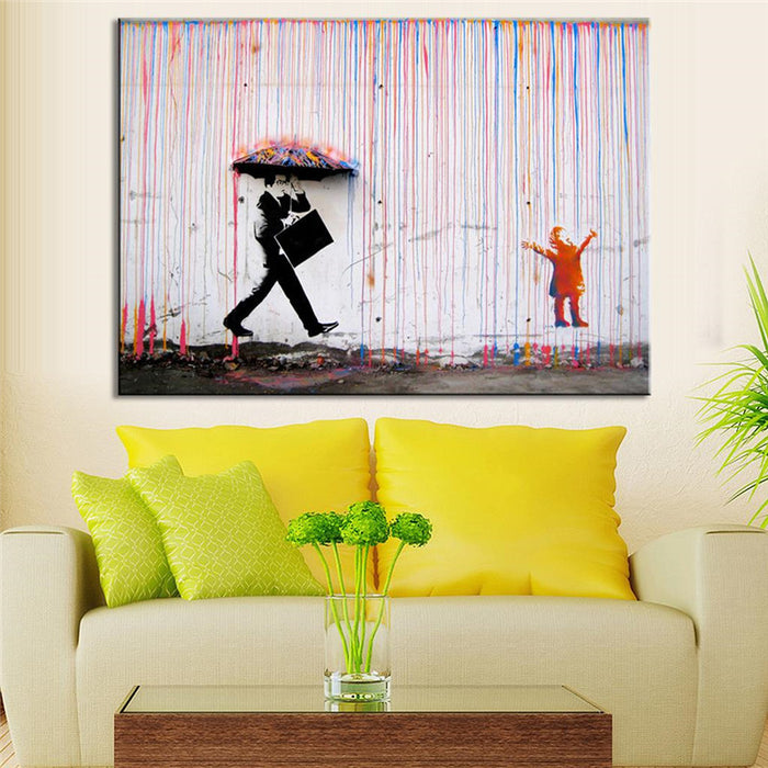 Banksy Colorful Rain Wall Canvas