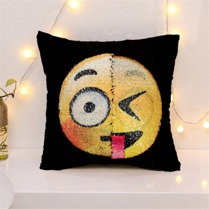 Awesome Changing Face Emoji Sequin Pillow