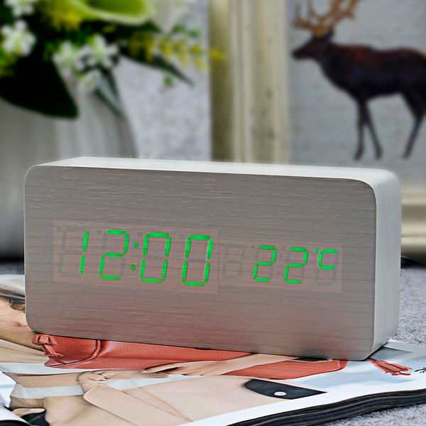FiBiSonic™ Wooden LED Alarm Clock