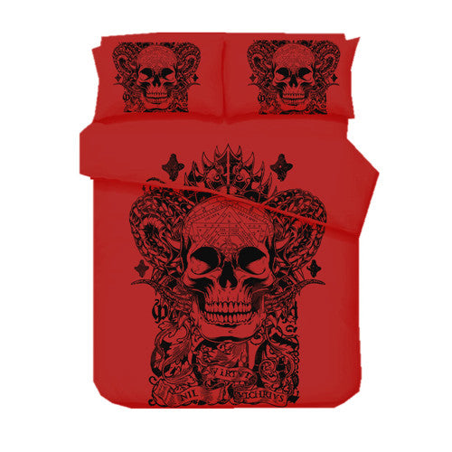 Skull Red Printed Bed Set