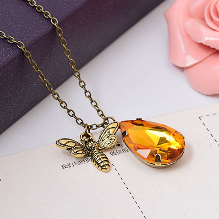 Crystal Honey Bee Necklace