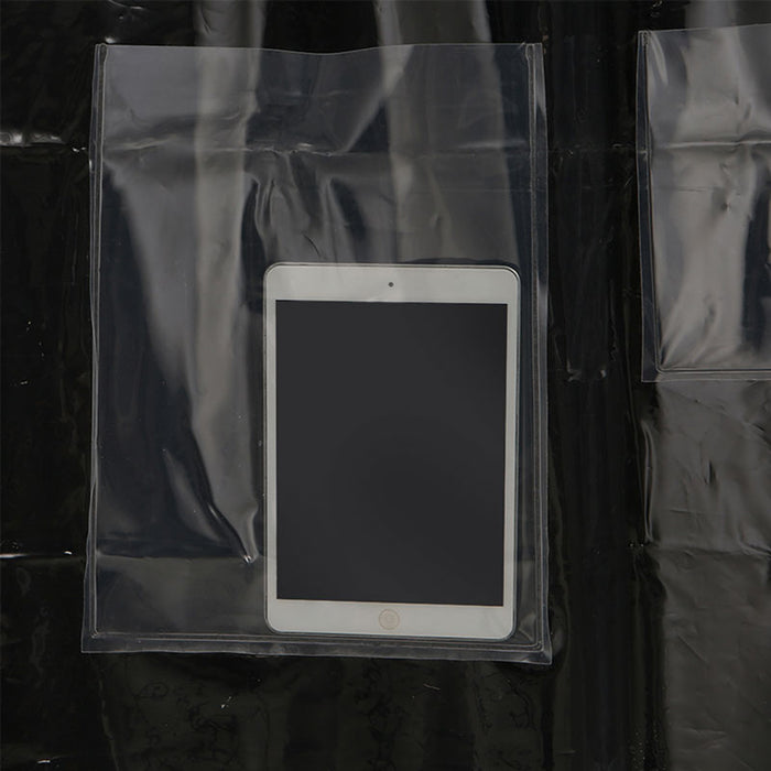 Clear Shower Curtain with Tablet/Mobile Pockets