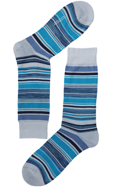 These striped socks will become a timeless accesory. Crafted from 100% cotton of the highest quality. Wear them with a grey or black suit for a more classic look.
