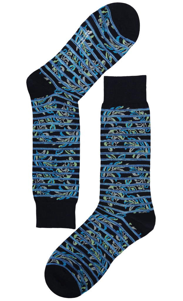 These 80's pattern socks are a fine addition to your wardrobe. Wear them with your everyday suit and you'll turn eyes for the right reason.