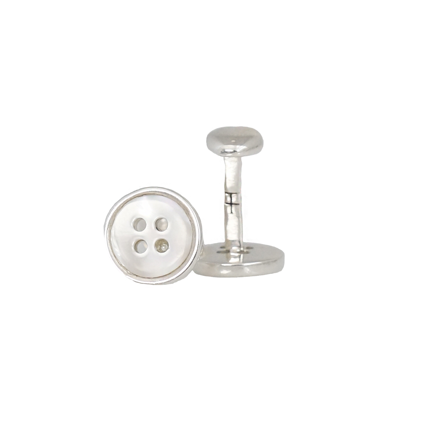 Add a touch of elegance to your look with our button shape cufflinks made 100% in silver. You can choose between the basic or the one with an incrustation in mother pearl.  These cufflinks will make the perfect gift for the modern gentleman.