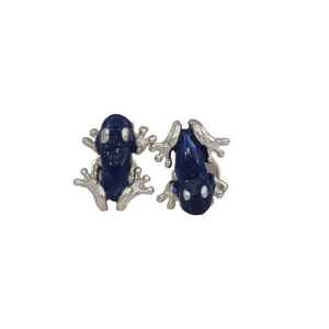 These silver frog cufflinks are the sophisticated - modern approach that you've been missing on. They're made 100% in silver with an enamel blue coat.