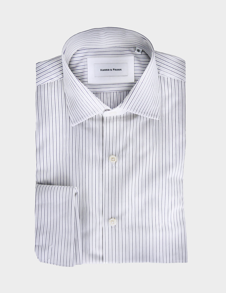 White shirt with blue stripes.