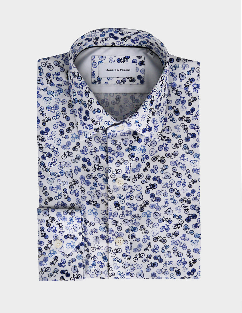 A seasonal must have. Our bicycle printed shirt is great for going everywhere in style.