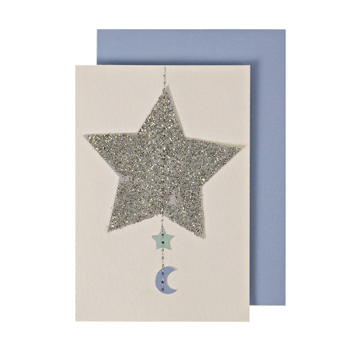 Baby Boy Star Hanging Mobile Card - Jillian Maddie Paperie