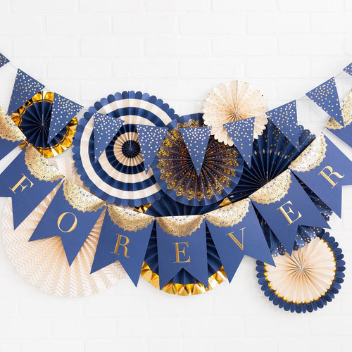 gold and navy pennant banner