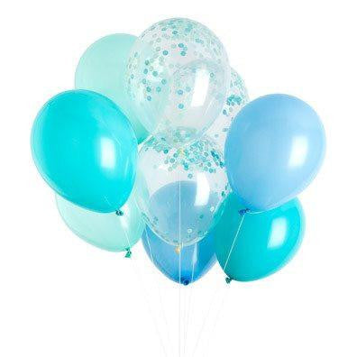 Mix of perfectly coordinated blue balloons