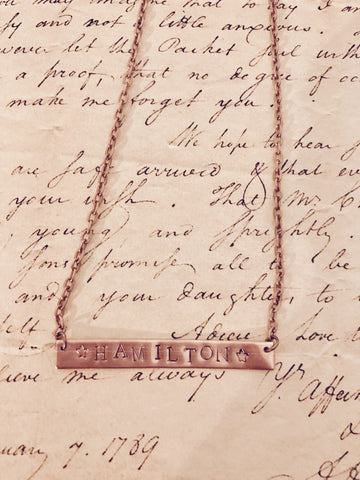 Hamilton Broadway Alexander Hamilton Stamped Bar Necklace
